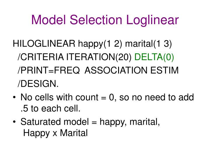 Model Selection Loglinear