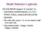 model selection loglinear