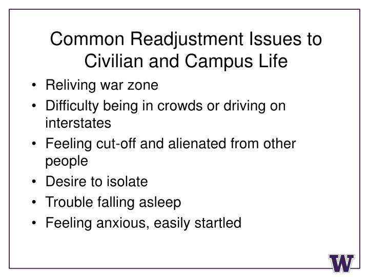 Common Readjustment Issues to Civilian and Campus Life