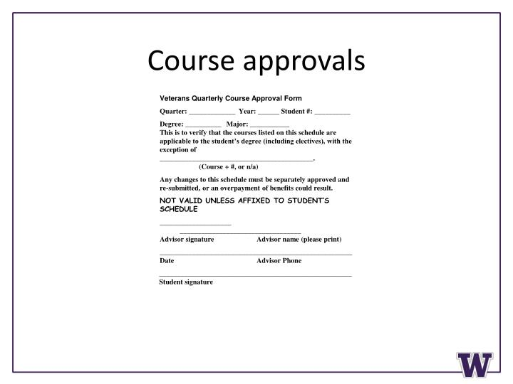 Course approvals