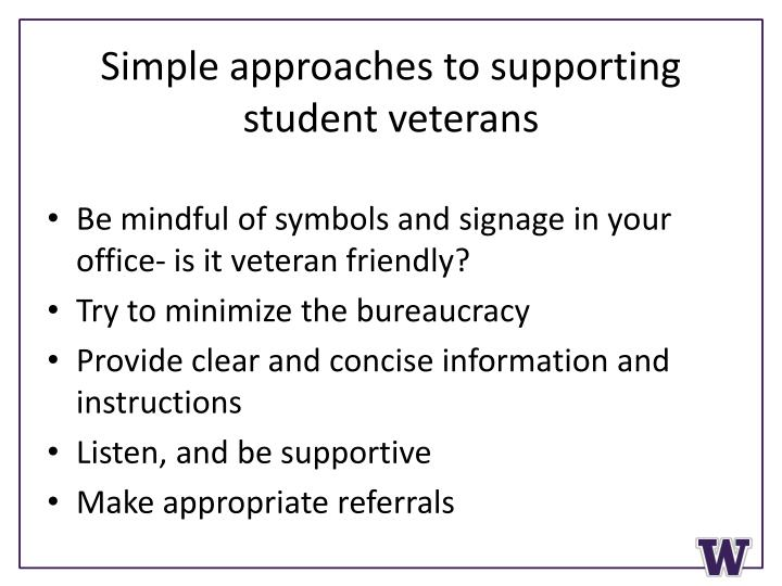 Simple approaches to supporting student veterans