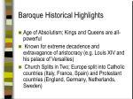 baroque historical highlights