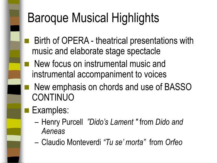 Baroque Musical Highlights
