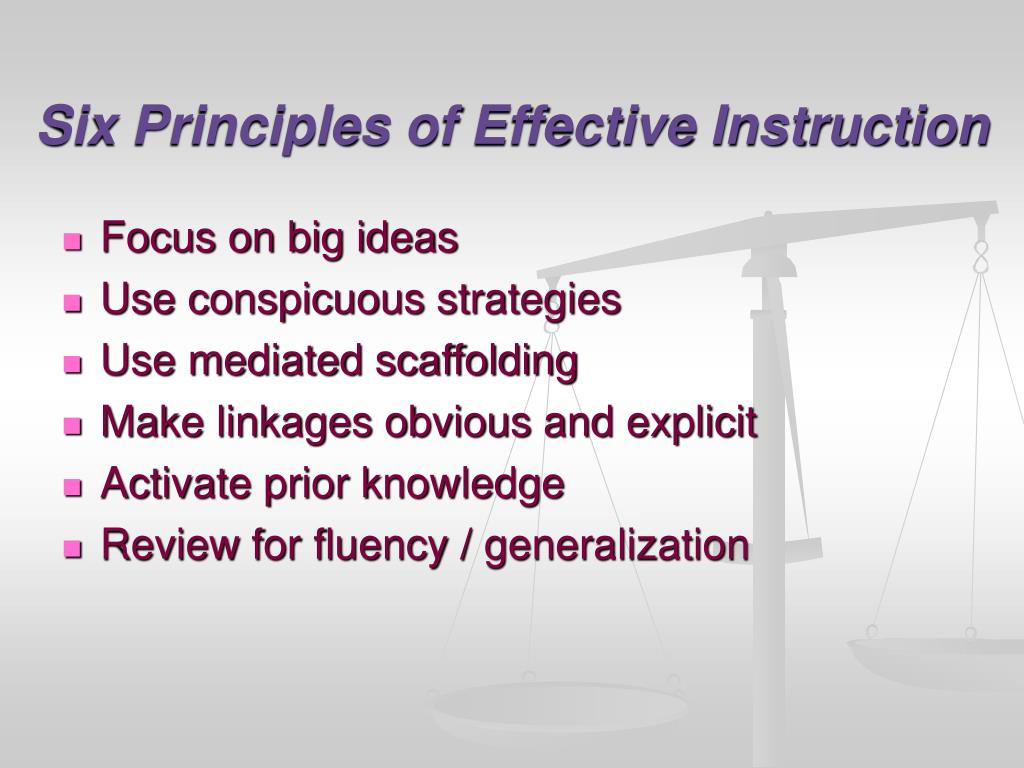 Six Principles of Effective Instruction