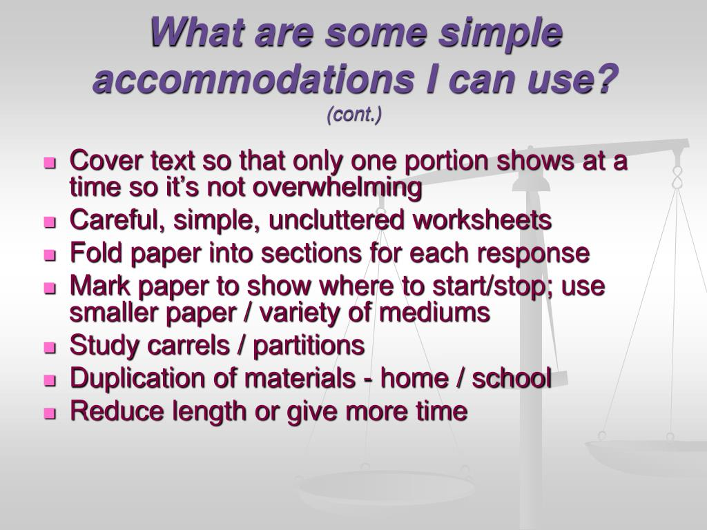 What are some simple accommodations I can use?