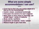 what are some simple accommodations i can use cont