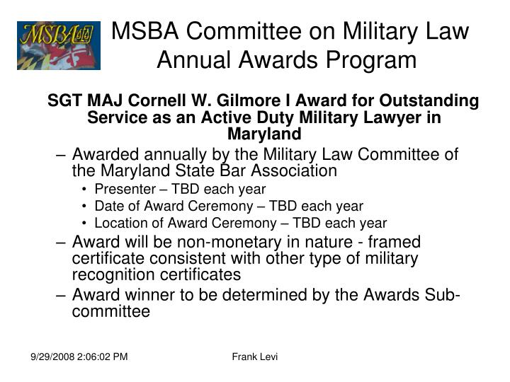 msba committee on military law annual awards program n.