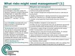 what risks might need management 1