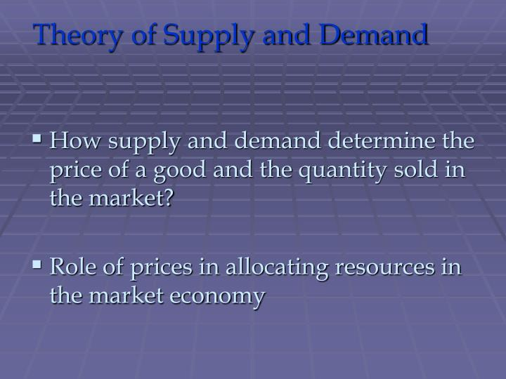 theory of supply and demand n.