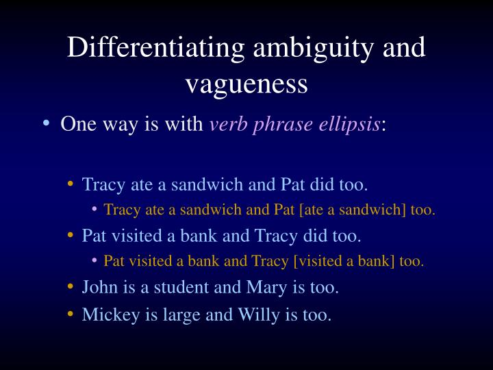 Differentiating ambiguity and vagueness