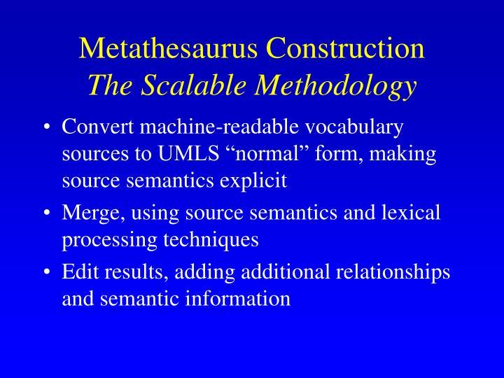 Metathesaurus Construction