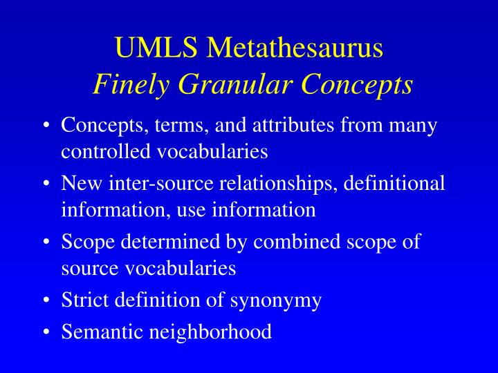 UMLS Metathesaurus