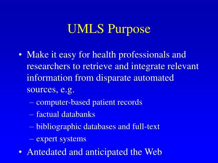UMLS Purpose