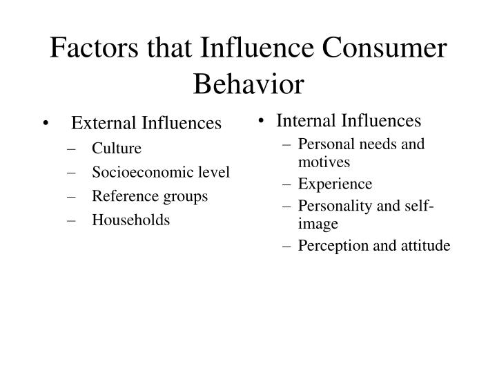 internal influences on consumer behaviour