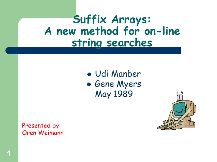 suffix arrays a new method for on line string searches n.