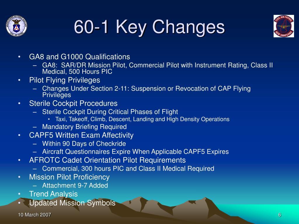 60-1 Key Changes