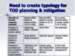 need to create typology for tod planning mitigation