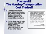 the result the housing transportation cost tradeoff
