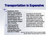 transportation is expensive