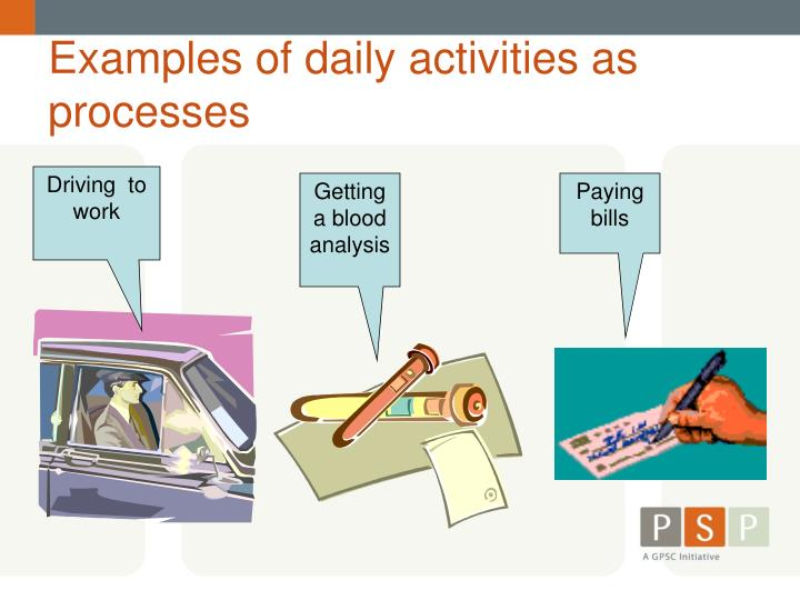 examples of daily activities as processes n.