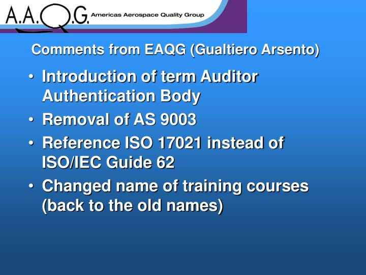 Comments from EAQG (Gualtiero Arsento)