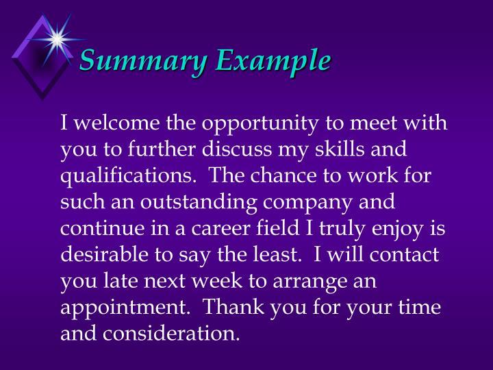Summary Example