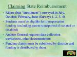 claiming state reimbursement