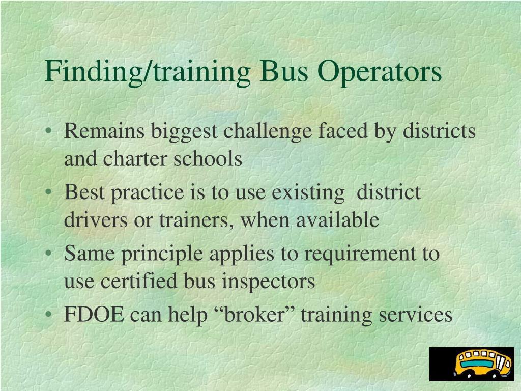 Finding/training Bus Operators