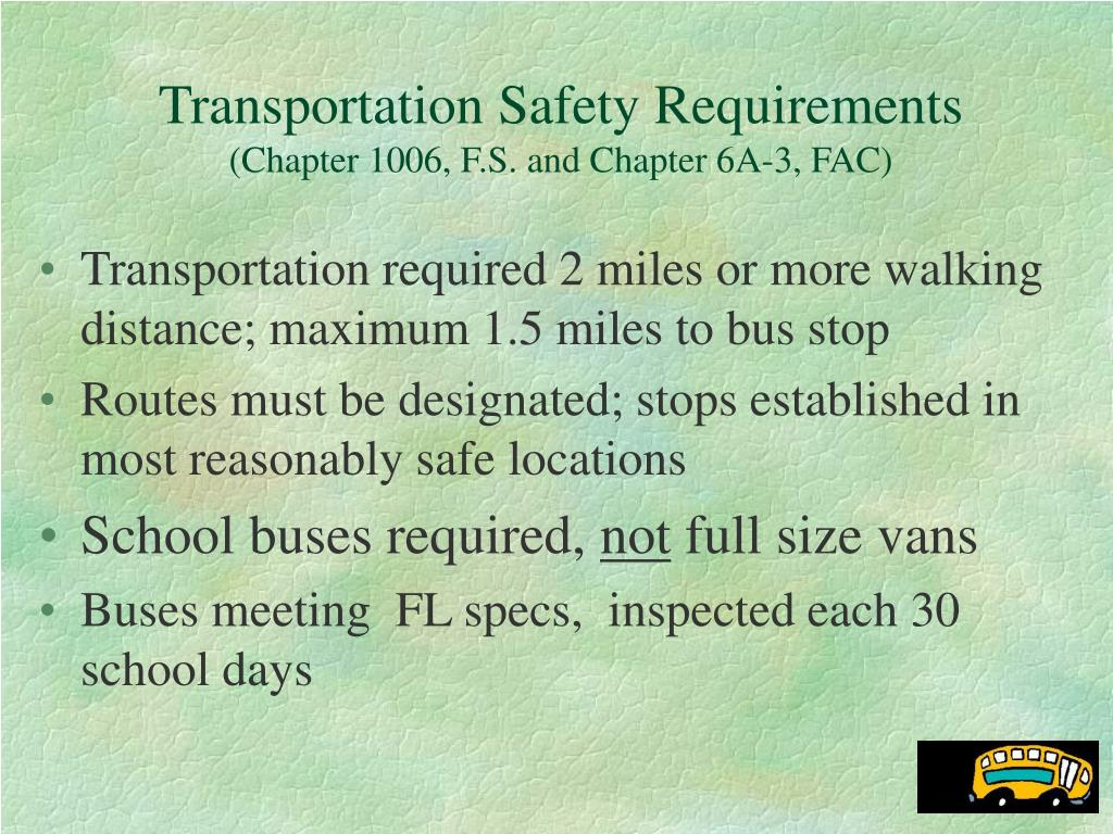Transportation Safety Requirements