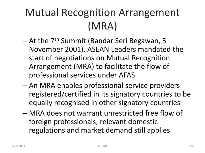 Mutual Recognition Arrangement (MRA)