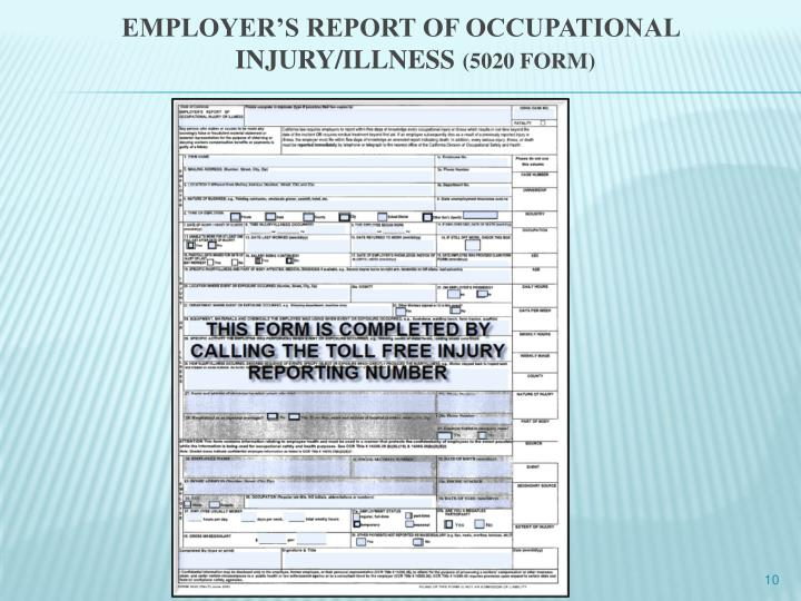EMPLOYER'S REPORT OF OCCUPATIONAL INJURY/ILLNESS