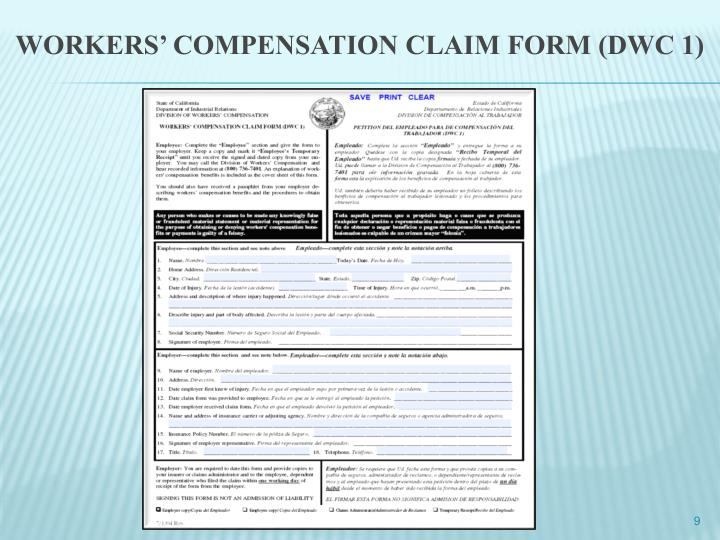 WORKERS' COMPENSATION CLAIM FORM (DWC 1)