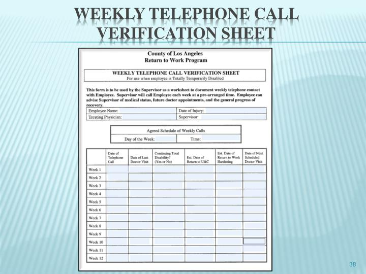 Weekly telephone call verification sheet