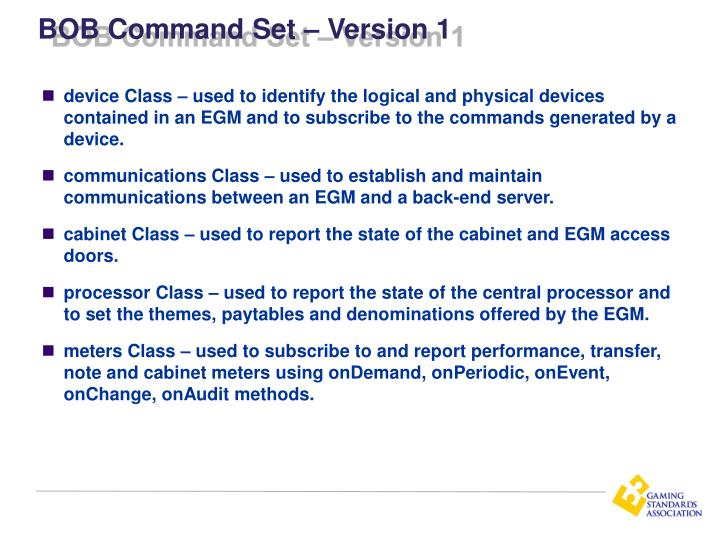 BOB Command Set – Version 1