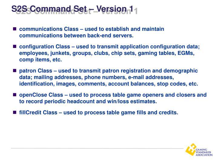 S2S Command Set – Version 1