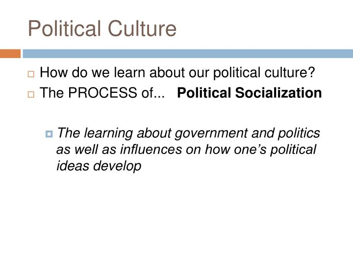 what is political culture and political socialization
