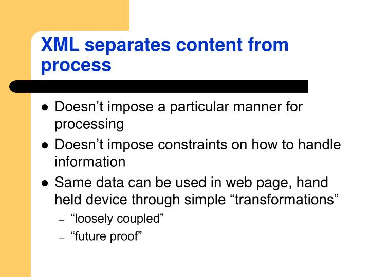 XML separates content from process