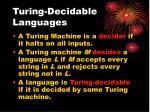 turing decidable languages