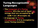turing recognizable languages