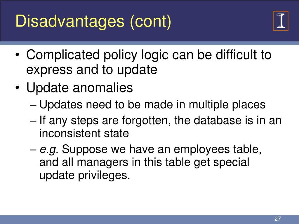 Disadvantages (cont)