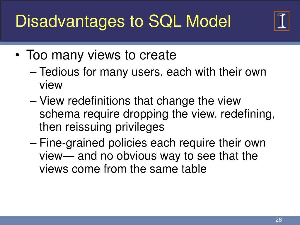 Disadvantages to SQL Model