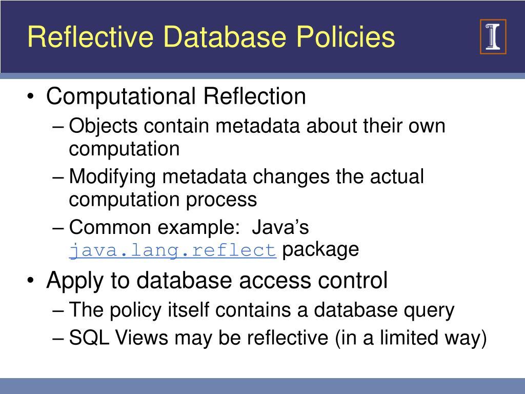 Reflective Database Policies