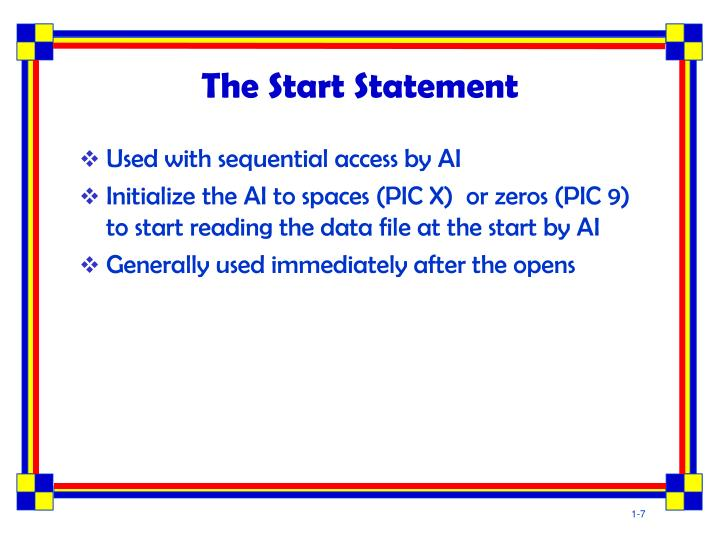 The Start Statement