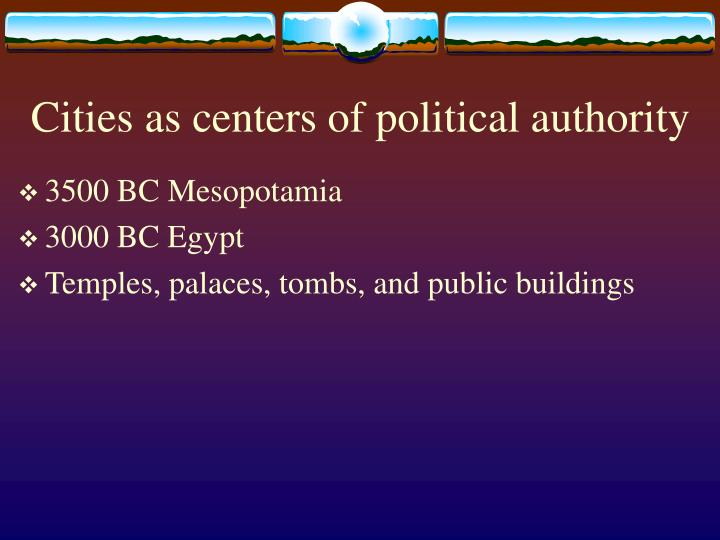 Cities as centers of political authority