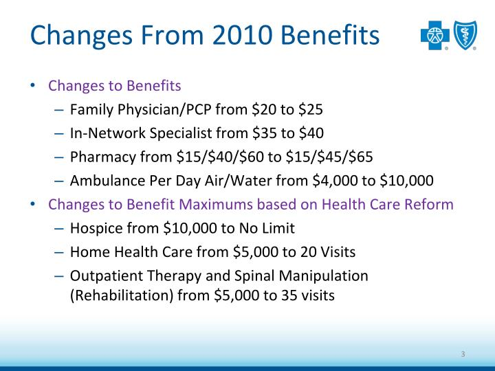 Changes from 2010 benefits