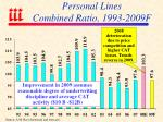 personal lines combined ratio 1993 2009f