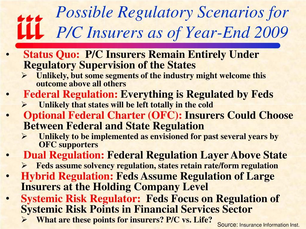 Possible Regulatory Scenarios for P/C Insurers as of Year-End 2009