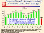 property casualty insurance industry investment gain 1994 2008 q3 1