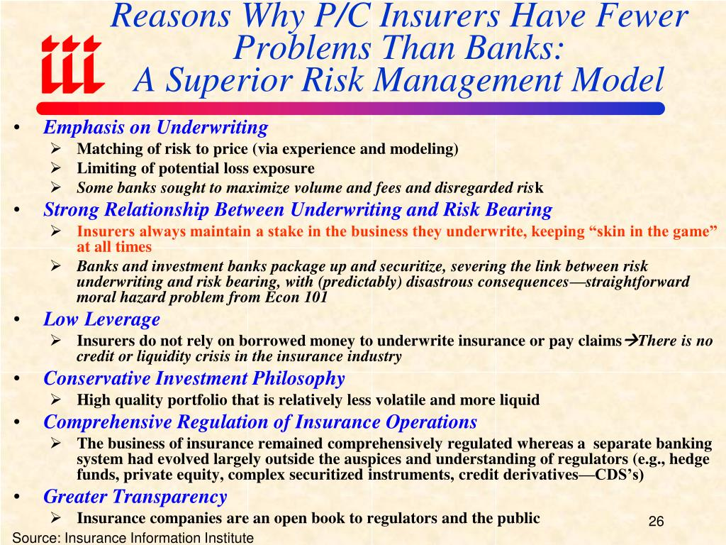 Reasons Why P/C Insurers Have Fewer Problems Than Banks: