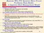 reasons why p c insurers have fewer problems than banks a superior risk management model